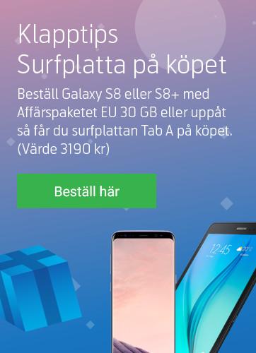 Samsung S8/S8+ med surfplatta på köpet